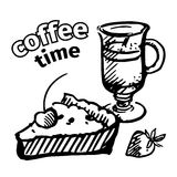 Black and white coffee and pie. sketch. Royalty Free Stock Photo