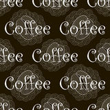 Black and white coffee seamless pattern Stock Images
