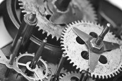 Black white Cogwheels Clockwork. Macro Stock Photography