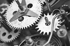 Black white Cogwheels Clockwork. Macro Stock Photo