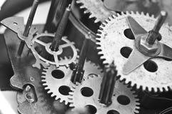 Black white Cogwheels Clockwork. Macro Stock Image