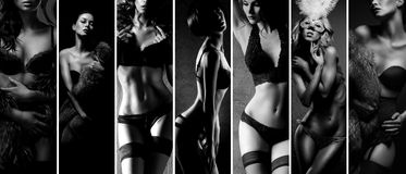 Black and white collage. women posing in beautiful lingerie Stock Photos