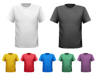 Black and white and color men t-shirts. Design tem Stock Photos