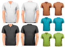 Black and white and color men t-shirts. Design tem vector illustration