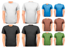 Black and white and color men t-shirts. Royalty Free Stock Photography