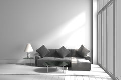 Black and white color sofa lamp table ,3D rendering Stock Photo
