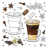 Black and white and color vanilla cappuccino and spices on white background. Hand drawn vanilla cappuccino vector illustration