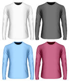 Black. White and color variants of long-sleeved t shirt Stock Photos