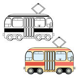Black and white and colored cute cartoon style tram Royalty Free Stock Photography