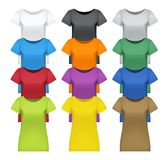 Black, white and colored women t-shirts,  Royalty Free Stock Photos