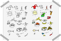 Black-and-white and colorful Fool`s day doodles set. Doodles set for decoration. Hand drawn doodles set for first april day Royalty Free Stock Photo
