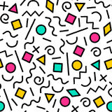 Black and white and colorful memphis abstract geometric shapes seamless pattern, vector stock illustration