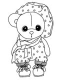 Black and white coloring. Cartoon Teddy Bear. A toy. Illustratio. Coloration teddy bear. Black and white coloring. Teddy Bear. A toy. Drawn by hand. Black vector illustration
