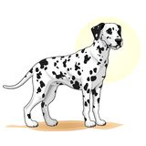 Black and white coloured dog amazing vector illustration. Cute cartoon dogs vector puppy pet characters breads doggy illustration. Black and white coloured dog royalty free illustration