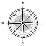Black and white compass icon Royalty Free Stock Photography