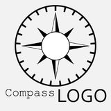 Black and white compass logo. Vector icon. Rose of Wind. Black and white compass logo. Vector icon Royalty Free Stock Images