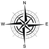 Black and white compass. Raster Royalty Free Stock Image