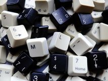 Black and white computer keyboard keys, mostly numeric with ML Machine learning buttons at the front. Concept of unstructured royalty free stock images