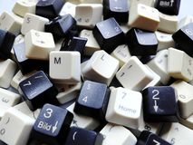 Black and white computer keyboard keys, mostly numeric with ML Machine learning buttons at the front. Concept of unstructured royalty free stock photo