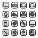 Black an white computer peripherals and accessories icons Stock Photography