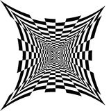 Black and White Concave Rectanguless Expanding from the Center. Optical Illusion of Perspective, Volume and Depth Stock Photo