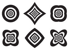 Black and white concentric shapes with Optical illusion effects Royalty Free Stock Photo