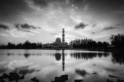 Black and white concept of iconic floating mosque at Terengganu, Malaysia Royalty Free Stock Images