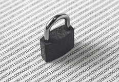 A black and white concept image that can be used to represent cyber security or the protection of software code. This image has se Royalty Free Stock Images