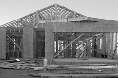 Black and White Construction. A black and white view of a construction site for a new house Royalty Free Stock Image