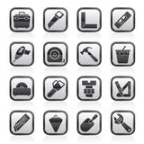 Black and white construction objects and tools icons Royalty Free Stock Photography