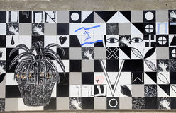 Black and white contemporary tile mosaic decoration, Tel Aviv Royalty Free Stock Photos