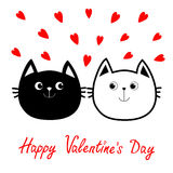 Black White contour Cat head couple family icon. Red heart set. Cute funny cartoon character. Happy Valentines day Greeting card. Royalty Free Stock Photography