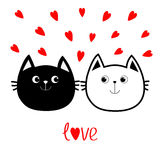 Black White contour Cat head couple family icon. Red heart set. Cute funny cartoon character. Valentines day Love word Greeting  Stock Photo