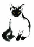 Black and white contour cat watercolor illustration Royalty Free Stock Photos