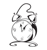 Black and white contour clock  Royalty Free Stock Photos