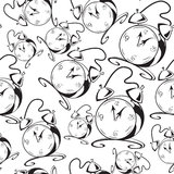 Black and white contour clock seamless  Stock Photography