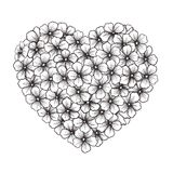 Black-and-white contour of flowers in form of hear. Black-and-white contour of flowers in the form of heart stock illustration