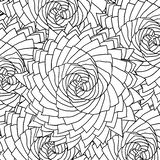 Black and white contour fractal flowers pattern for coloring books Stock Photos