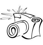 Black and white contour photo camera Royalty Free Stock Image