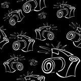 Black and white contour photo camera seamless Stock Photos