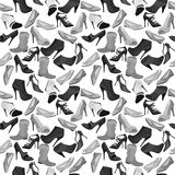 Black-and-white contour seamless pattern with Royalty Free Stock Image