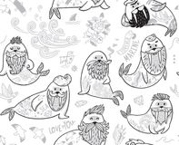 Black and white contour seamless pattern with hipster walruses with beards and tattoos in cartoon style. Ink seamless pattern with cartoon characters of funny Stock Photo