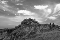 BLACK WHITE CONTRAST ON THE CANOSSA CASTLE Royalty Free Stock Photo