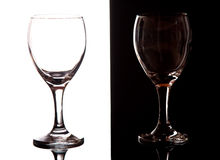 Black and white contrast wine glasses Stock Photo