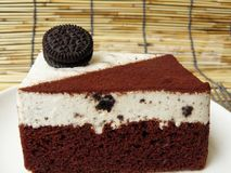 Black & white cookie and cream chocolate cake Stock Photo