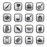 Black an white cooking Equipment Icons Royalty Free Stock Images