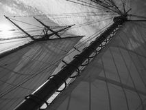 Black and white, cool tallship under sail Stock Photography