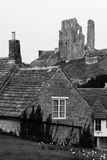 Black and White Corfe Castle Village Royalty Free Stock Photos