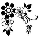 Black and White Corner floral Ornament. Black and white corner flourish with simple flowers and swirls with leaves and tiny dots vector illustration