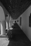 Black-white corridor. Great corridor at Greece, in a temple Stock Images